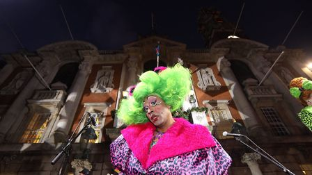 Colchester's 2019 Christmas lights switch on. One of the Mercury Theatre's Ugly Stepsisters. Picture
