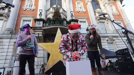Colchester's 2019 Christmas lights switch on. Ian Wyatt and Sonia Watson from BBC Essex watch Bryn R