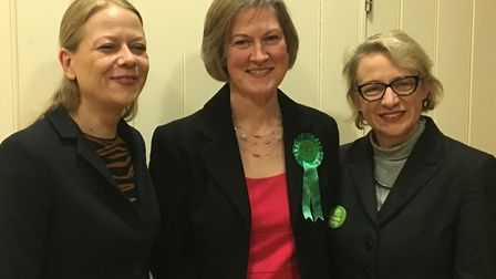 Helen Geake (centre) with Green Party co-leader Sian Berry (Left) and former leader Natalie Bennett