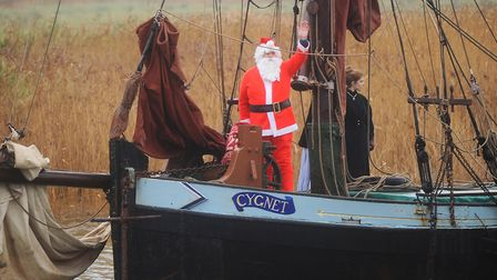 Father Christmas to arrive by an historic Thames sailing barge at Snape Maltings ready for its big C