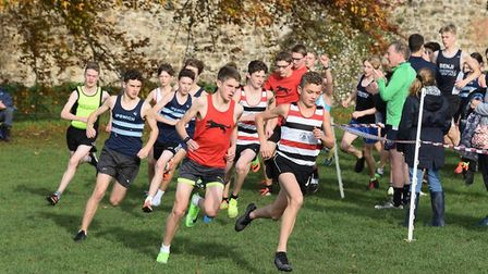 Lewis Sullivan (hooped vest) leads the way at the recent Suffolk Winter League junior race at Framli