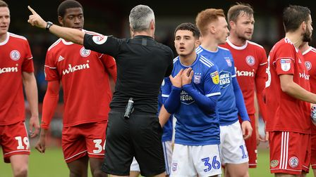Armando Dobra pleads his case to the referee at Accrington after being dismissed. Picture: Pagepix L