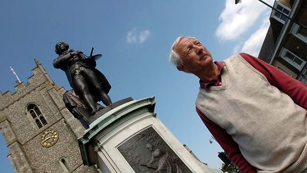 Alan Cocksedge in 2008, campaigning for more statues of artist Thomas Gainsborough in Sudbury. Pic