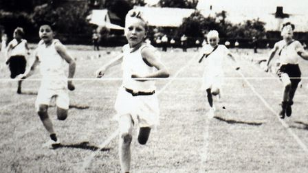 Competing at Sudbury Junior School Sports Day in 1953 are Ivan Hume, Barry Hible, Alan Cocksedge,