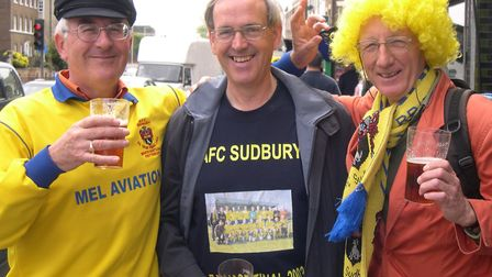 Three fans came back from a golf holiday in France to watch AFC Sudbury in the 2005 FA Vase final .