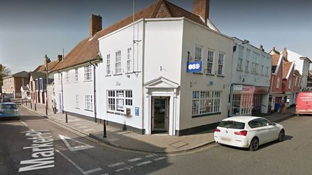 The potentially deadly morphine was left near the TSB bank in Hadleigh last night Picture: GOOGLE MA