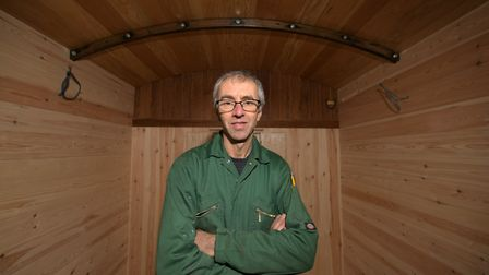 Stuart Harris inside his latest railway carriage renovation Picture: SARAH LUCY BROWN