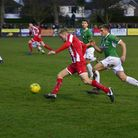 Amani Schaar on a run down the wing for Felixstowe and Walton United, during Saturday's 3-2 home def