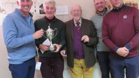 JOE PROUDFOOT TOPHY joint winners from left: Andrew Collison, Tony Dobson, Dell Bower (SPGA presiden