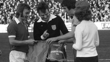 A young Mick Mills and Duncan Forbes prepare for the toss before the first leg of the Texaco Cup Fin