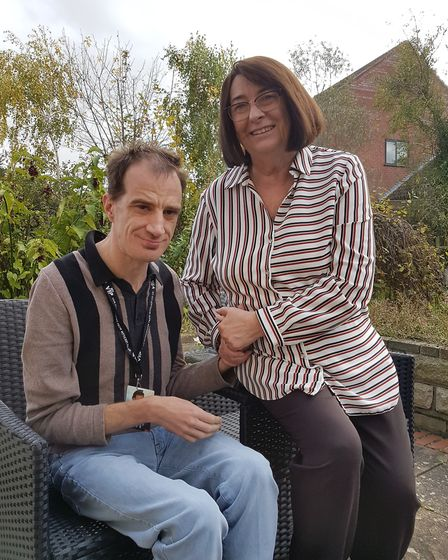 Gwen Taylor and her son Mark , a resident at The Dell Care Home in Great Cornard Picture: Lauren De