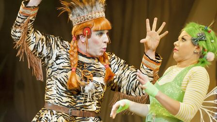 Chris Clarkson as Tiger Lily and Anna Campkin as Tinkerbell in Peter Pan, this year's panto at Theat