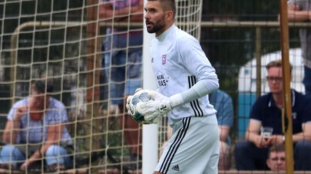 Bartosz Bialkowski in action during the first pre-season game against Paderborn Picture: ROSS HALLS