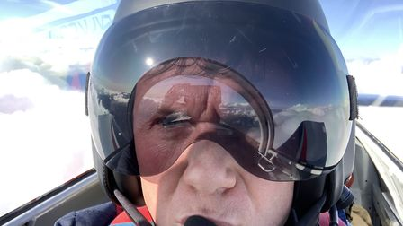 Giles Abrey pictured flying 12,100ft over The Alps on his solo flight from the UK to Cape Town. Pict