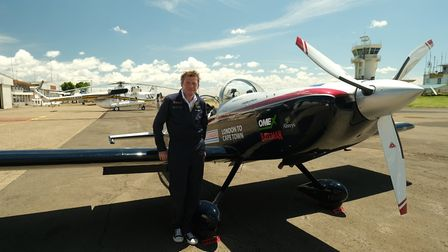 Giles Abrey in Nairobi with the plane he built to fly more than 7,000 miles across Europe and Africa