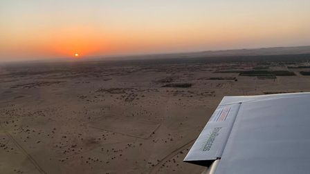 Giles Abrey landing in Merowe, Sudan, at sunset. Picture: GILES ABREY