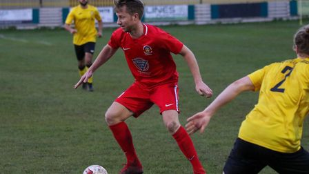 Dean Bowditch, on the ball in central midfield during Stowmarket Town's 3-0 win at Stanway Rovers. P