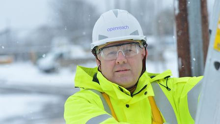 Openreach's Barrie Sweenie getting ready for the cold weather Picture: OPENREACH
