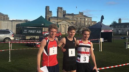Top three in the senior boys' event, from left: Nathan Goddard, Jamer Pettersson (winner) and Will L