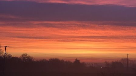 Suffolk was bathed in colourful light this morning as the sun rose across the county. Allison Hassey