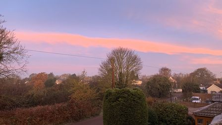 Ipswich resident Joe Fairs took this picture from his house, as the sun began to break through the p