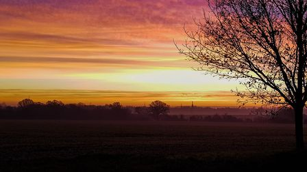 This was the sunrise over Mellis in Suffolk this morning. Estate Agents Purbeck & Co snaped the scen