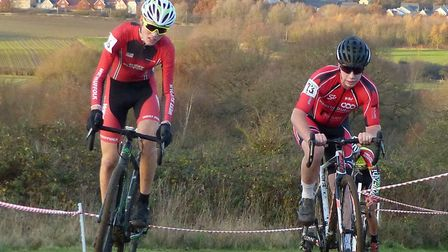 Oscar Woodward – best West Suffolk Wheeler in the final race – and Nathan Gibson (St Ives CC) in act