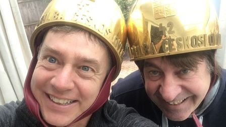 Mike Bacon and Jeremy Doncaster, with the two Golden Helmets Jem won in the Czech Republic