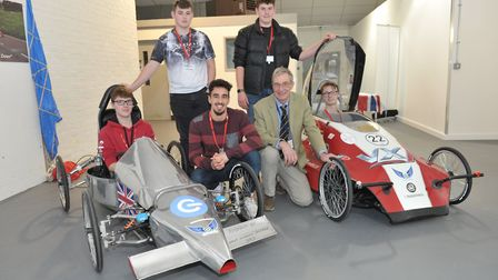 Students with a vehicle that was made at the college L-R Luke Alexander, Callum Hammond, Alexandre