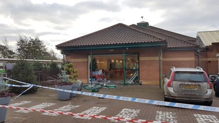 Part of the Dobbies car park has been cordoned off Picture: ARCHANT