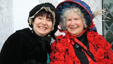 Lavenham tour guides Claire Partner, left, and Barbara Butler in Victorian costume for the fair Pic
