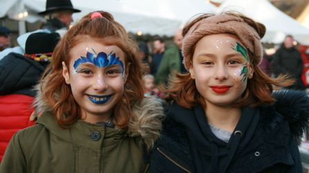 Twin sisters Libby and Flick Morris, aged nine, from Saxmundham, enjoyed some festive face painting