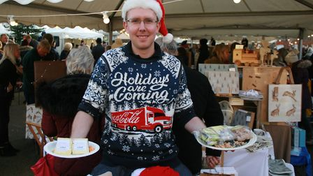 Chris Churchard of A.R. Heeks & Son was out and about handing out samples from the deli counter Pic