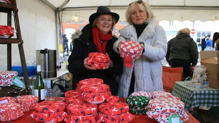 Jacky Short, left, and Jane Cawte-Franklin of Puddings-4-Christmas Picture: MARK LANGFORD
