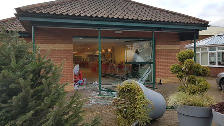 A car has done a significant amount of damage to the Dobbies Garden Centre in Woodbridge this mornin