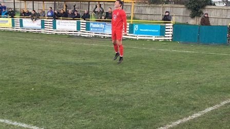 Stowmarket Town striker Christy Finch celebrates netting the second goal during yesterday's 3-0 win