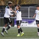 Cambridge City's Chukwula Ubah celebrates his goal with his captain Luke Knight. Picture: PAUL VOLLE