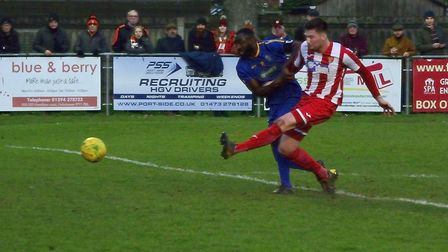 George Clarke shoots just wide, one of many chances spurned by the Seasiders in their 2-1 home defea