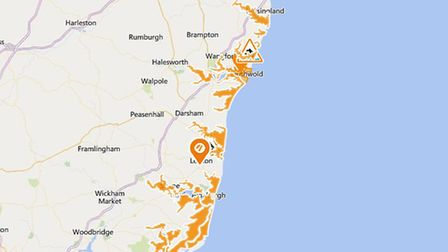 A flood alert has been issued for parts of the Suffolk coast Picture: EA/GOOGLE MAPS