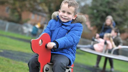 Connor enjoying the new play equipment Picture: SARAH LUCY BROWN