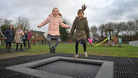 Matilda and Tilly May having fun on the trampoline Picture: SARAH LUCY BROWN