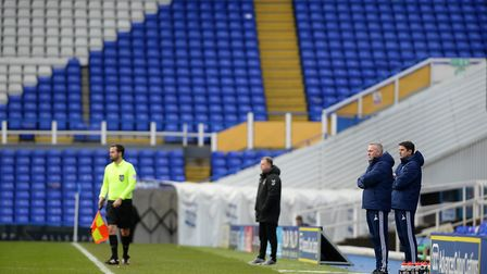 Ipswich Manager Paul Lambert and his assistant Stuart Taylor in a very sparcely populated Birmingham