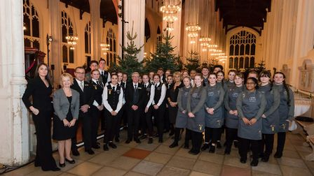 The students from West Suffolk College Culinary Arts Academy in St Edmundsbury Cathedral for the cha