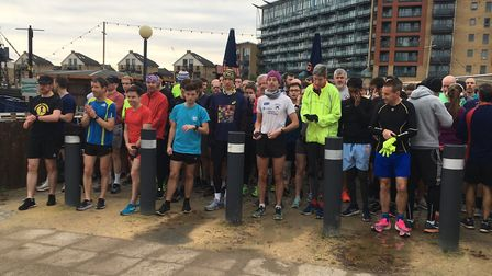 Runners and walkers congregate for the start of last Saturday's 81st staging of the Victoria Dock pa