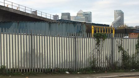 Looking westwards towards Canary Wharf, close to the start of the weekly Victoria Dock parkrun in Ea