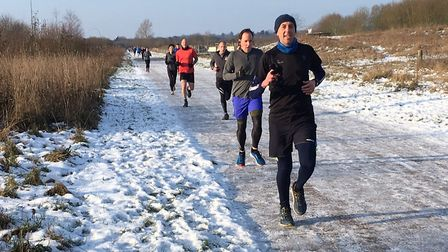 A wintry scene at the Ellenbrook Fields parkrun. Picture: CARL MARSTON