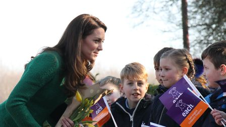 The Duchess of Cambridge meeting schoolchildren on a previous visit to an EACH hospice Picture: EACH