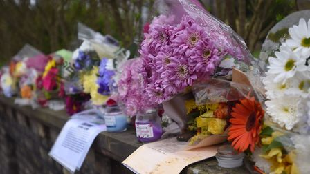 Floral tributes to Jake Page following the fatal crash in Sudbury Picture: ARCHANT