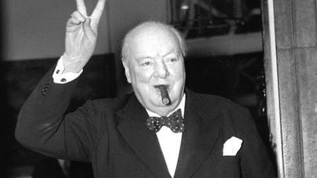 Sir Winston Churchill giving his familiar 'V' for Victory sign. Recapture that vintage 1940s look a