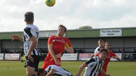Dan Morphew, who headed home Needham Market's second goal in a 2-1 win at Tamworth tonight. Picture: